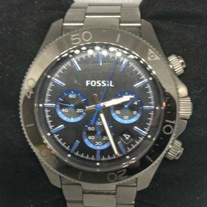 Fossil Men's Stainless Steel Black Dial Watch HG45